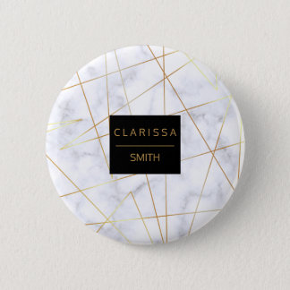 Bóton Redondo 5.08cm folha de ouro de mármore branca elegante do falso
