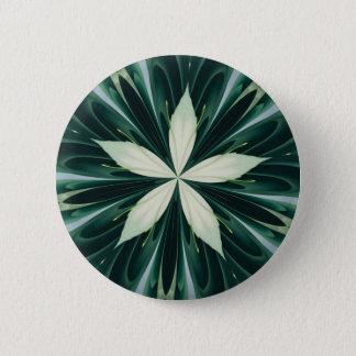 Bóton Redondo 5.08cm Folhas do branco em um caleidoscópio verde da