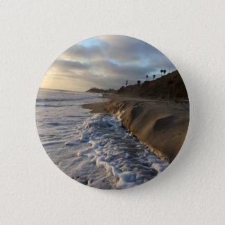 Bóton Redondo 5.08cm Fotografia das ondas que batem a areia