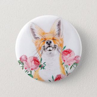 Bóton Redondo 5.08cm Foxy feliz e rosas