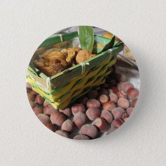 Bóton Redondo 5.08cm Frutas do outono com avelã e os figos secados
