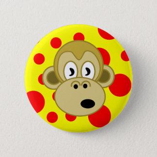 Bóton Redondo 5.08cm Fundo amarelo e vermelho do botão do macaco das