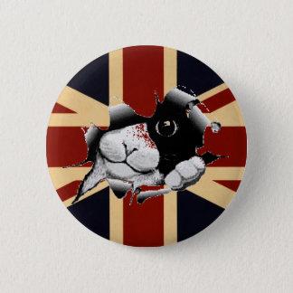 Bóton Redondo 5.08cm Gatinho engraçado de Union Jack Ingleses