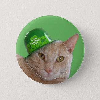 Bóton Redondo 5.08cm Gato alaranjado bonito que veste um chapéu