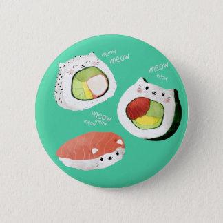 Bóton Redondo 5.08cm Gato bonito do sushi
