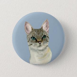 Bóton Redondo 5.08cm Gato de gato malhado com a aguarela bonito dos