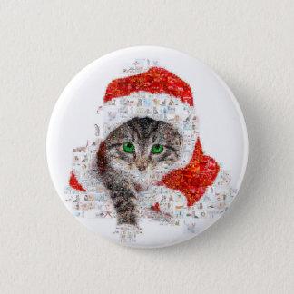 Bóton Redondo 5.08cm gato de Papai Noel - colagem do gato - gatinho -