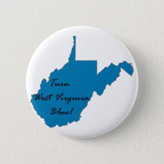 Bóton Redondo 5.08cm Gire West Virginia azul! Orgulho Democrática