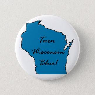 Bóton Redondo 5.08cm Gire Wisconsin azul! Orgulho Democrática!