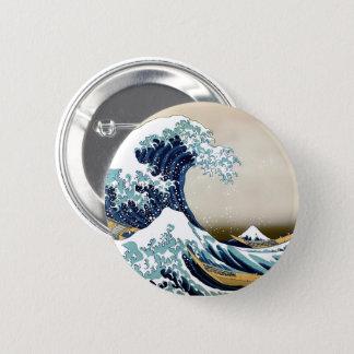 Bóton Redondo 5.08cm Grande onda restaurada fora de Kanagawa por