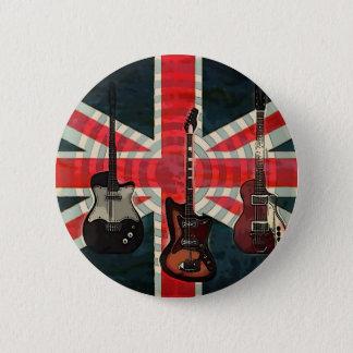 Bóton Redondo 5.08cm Guitarra elétrica do rolo britânico da rocha da