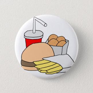 Bóton Redondo 5.08cm Hamburger, fritadas, pepitas de galinha e soda