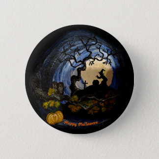 Bóton Redondo 5.08cm happy halloween witch button