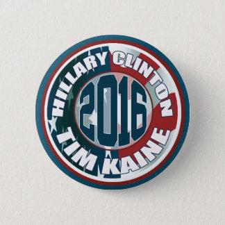 Bóton Redondo 5.08cm Hillary Clinton Tim Kaine em 2016