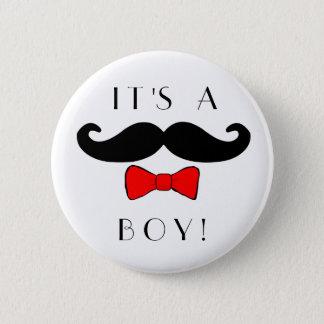 Bóton Redondo 5.08cm Homem pequeno é um bigode do menino e um Bowtie