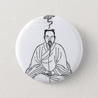 Bóton Redondo 5.08cm Homem que senta-se na pose da meditação