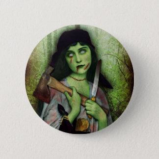 Bóton Redondo 5.08cm Horror gótico do Dia das Bruxas da menina do zombi