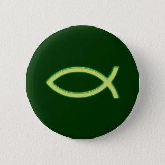 Bóton Redondo 5.08cm Ichthus - símbolo cristão dos peixes - luz - verde