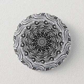 Bóton Redondo 5.08cm Ilusão óptica do Doodle ornamentado do zen preto e