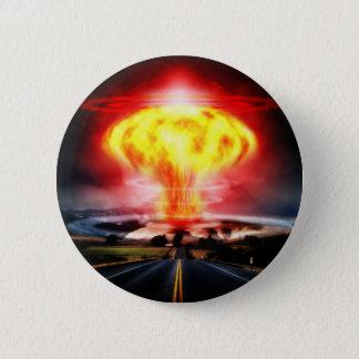 Bóton Redondo 5.08cm Ilustração do cogumelo atómico da explosão nuclear