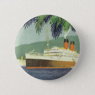 Bóton Redondo 5.08cm Ilustração do navio de cruzeiros do vintage