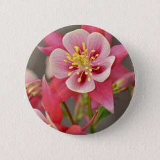 Bóton Redondo 5.08cm Impressão aquilégia cor-de-rosa da flor