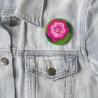 Bóton Redondo 5.08cm Impressão cor-de-rosa do Crochet do verde da flor