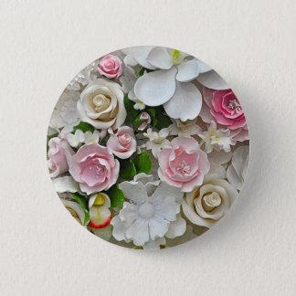 Bóton Redondo 5.08cm Impressão floral do rosa e o branco