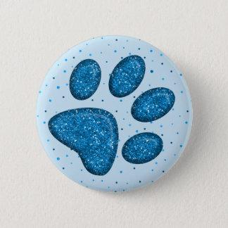 Bóton Redondo 5.08cm impressão sparkling da pata do gato - céu