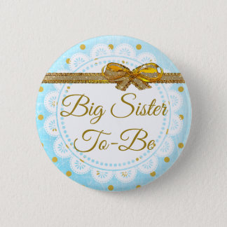 Bóton Redondo 5.08cm Irmã mais velha a ser botão do azul & do ouro do
