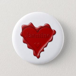 Bóton Redondo 5.08cm Jasmim. Selo vermelho da cera do coração com