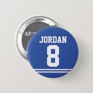 Bóton Redondo 5.08cm Jérsei azul do futebol com nome e número feitos