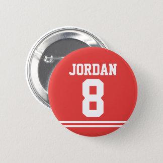 Bóton Redondo 5.08cm Jérsei vermelho do futebol com nome e número