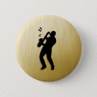 Bóton Redondo 5.08cm Jogador de saxofone dourado