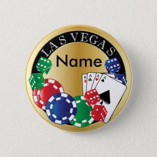 Bóton Redondo 5.08cm Jogador Las Vegas do ouro - dado, cartões,
