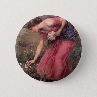 Bóton Redondo 5.08cm John William Waterhouse - narciso - belas artes