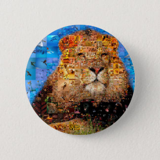 Bóton Redondo 5.08cm leão - colagem do leão - mosaico do leão - leão