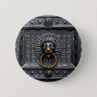 Bóton Redondo 5.08cm Leão de Doorknocker - preto/ouro