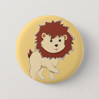 Bóton Redondo 5.08cm Leão feliz do bebê dos desenhos animados