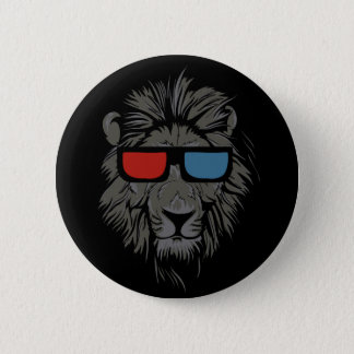 Bóton Redondo 5.08cm Leão legal do gato com o pino preto do botão dos