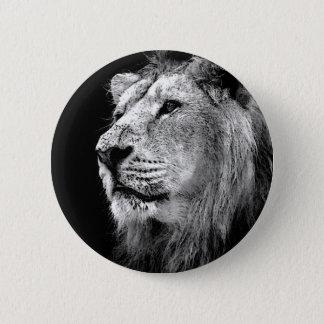 Bóton Redondo 5.08cm Leão preto & branco