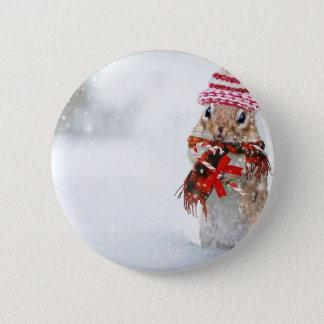 Bóton Redondo 5.08cm Lenço vermelho do chapéu da malha do Chipmunk do