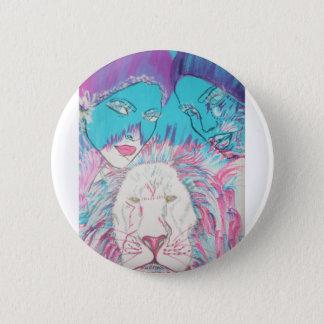 Bóton Redondo 5.08cm Leões azuis e cor-de-rosa