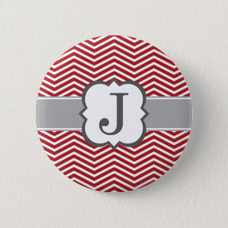Bóton Redondo 5.08cm Letra branca vermelha J Chevron do monograma