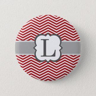 Bóton Redondo 5.08cm Letra branca vermelha L Chevron do monograma
