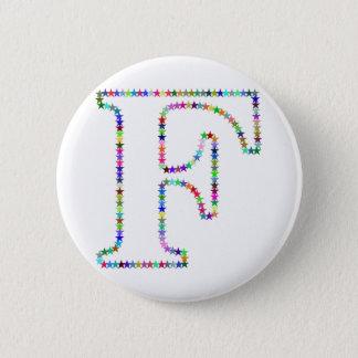 Bóton Redondo 5.08cm Letra F da estrela do arco-íris