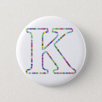 Bóton Redondo 5.08cm Letra K da estrela do arco-íris