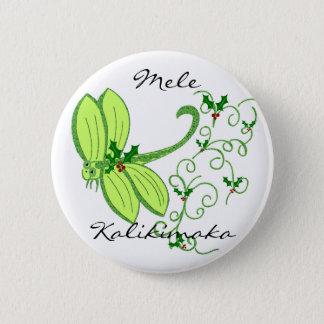 Bóton Redondo 5.08cm Libélula do azevinho, Mele, botão de Kalikimaka