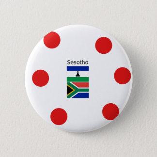 Bóton Redondo 5.08cm Língua de Sesotho e bandeiras de Lesotho/África do