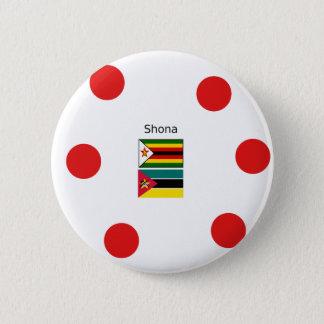 Bóton Redondo 5.08cm Língua de Shona e bandeiras de Zimbabwe e de
